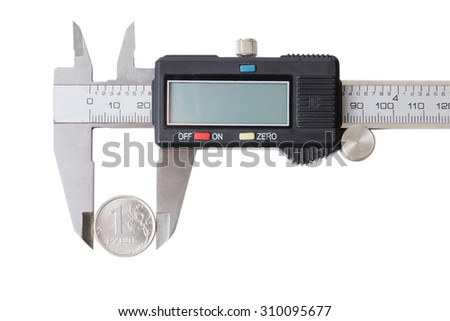 One coin measured with a caliper. Concept of finances and management. Isolated on white.