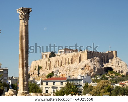 One column of Olympian Zeus temple, and Acropolis of Athens