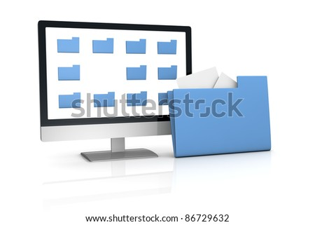 one computer desktop with some folder on the screen and a big one out of the screen, concept of searching and finding data (3d render) - stock photo