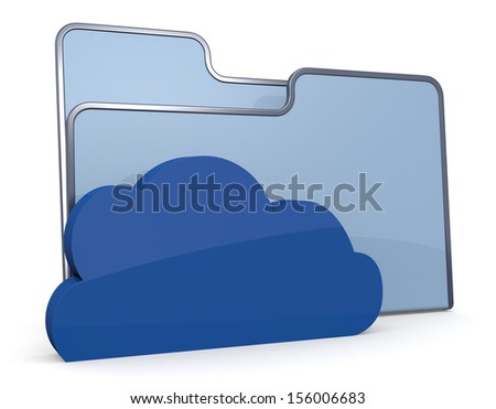 one computer folder icon with a cloud, concept of network data (3d render)