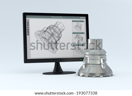 one computer monitor with a cam software and the finished product near it (3d render) - stock photo
