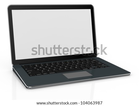 one computer notebook with a blank screen (3d render)