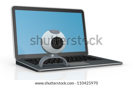 one computer notebook with a webcam (3d render)