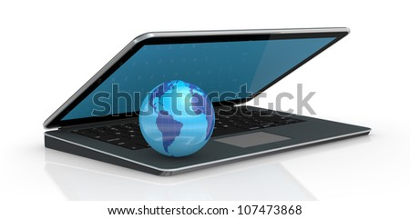 one computer notebook with a world globe (3d render)