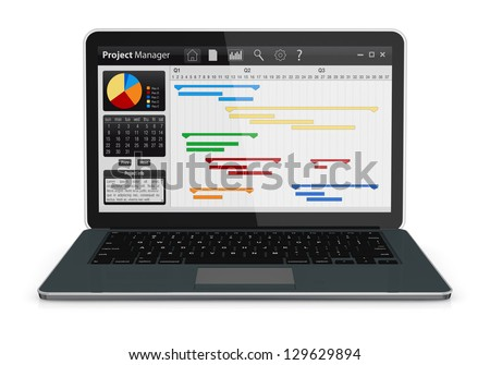 one computer notebook with project manager software and gantt chart (3d render) - stock photo