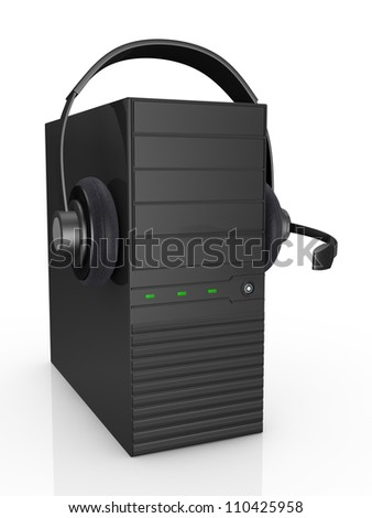 one computer with headphones, concept of help desk or online communication (3d render)