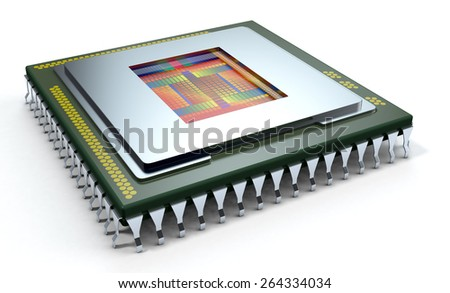 one CPU on white background, the cpu is without the cover and the circuits are visible (3d render) - stock photo