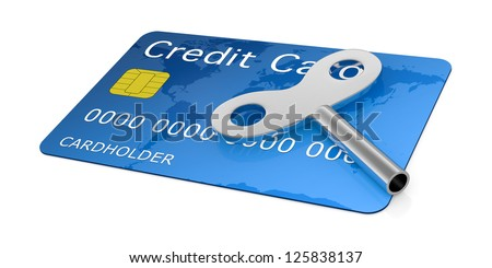 one credit card with a wind-up key (3d render)