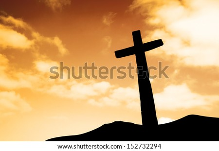 One cross on a hill - stock photo