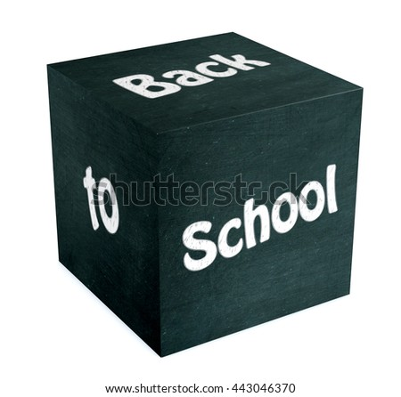 one cube made with a chalkboard with text: back to school, white background (3d render) - stock photo