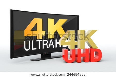 one curved smart tv, with the text: 4k uhd on the screen (3d render) - stock photo