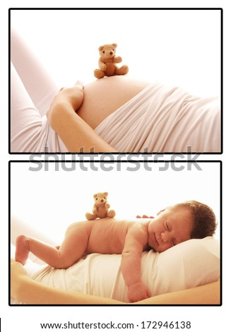 one cute newborn little baby and pregnant woman belly  - stock photo