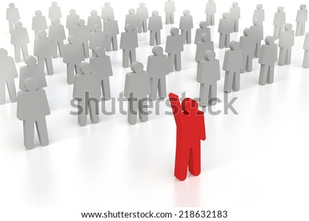 one 3d human stand out of the crowd
