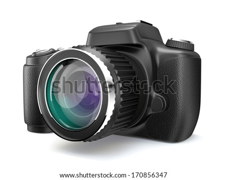 One 3D Photo camera on white isolated background.