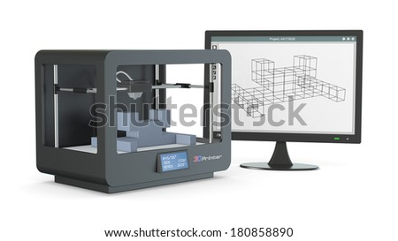 one 3d printer with a computer monitor with a cam software, and a prototype (3d render) - stock photo