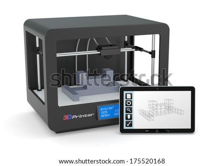 one 3d printer with a tablet pc and a cad software (render) - stock photo