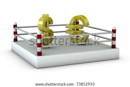 One 3d render of a ring with the dollar and euro symbols - stock photo