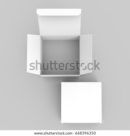 one 3d rendering white blank open box behind a closed one, for design uses, isolated gray background top view
