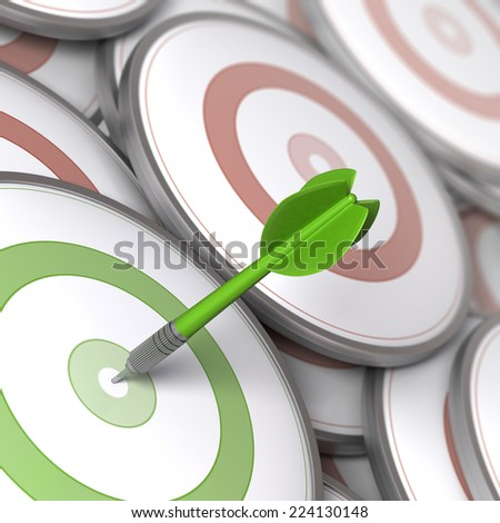 One dart hitting the center of a modern dartboard, targets concept to illustrate Business options or Marketing strategies. - stock photo