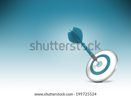 One dart hitting the center of a target over gradient background from blue to white. Concept illustration of setting business goals or objectives and achieve it. - stock photo