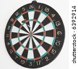 One dart in the dartboard. - stock photo