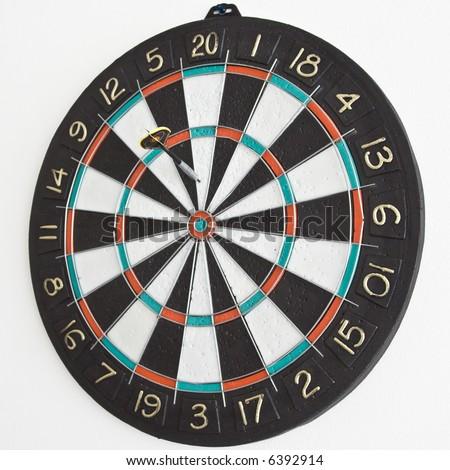 One dart in the dartboard. - stock photo