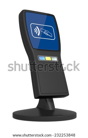 one device for contactless payments on white background (3d render) - stock photo