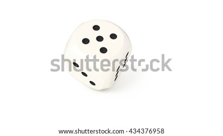 One dice rolling, isolated on white background, 3D render, close up.