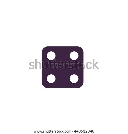 One dices - side with 4. Simple blue icon on white background - stock photo