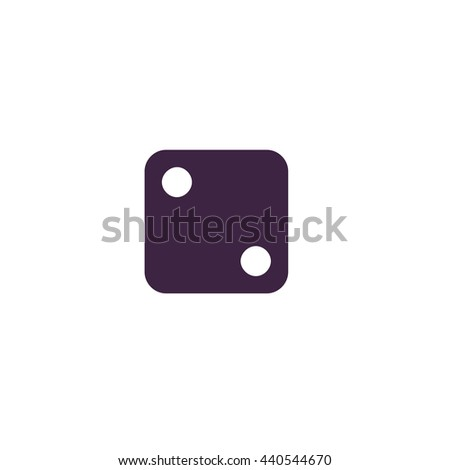 One dices - side with 2. Simple blue icon on white background - stock photo