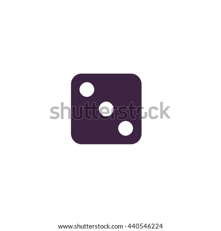 One dices - side with 3. Simple blue icon on white background - stock photo