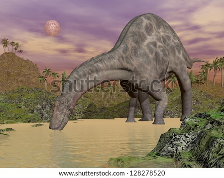 One dicraeosaurus dinosaur drinking water in prehistoric landscape by night - stock photo