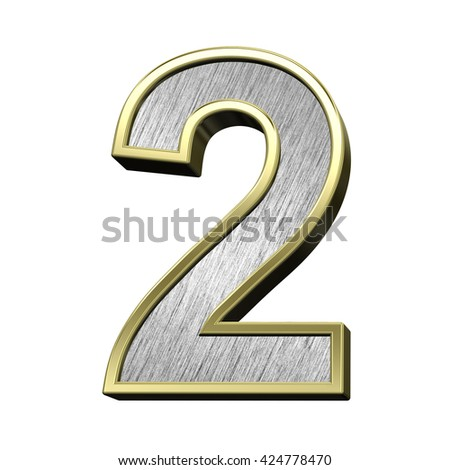 One digit case letter from brushed stainless steel with gold frame alphabet set, isolated on white. 3D illustration. - stock photo