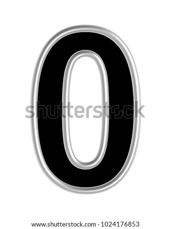 One digit from black with silver shiny frame alphabet set, isolated on white. 3D illustration with clipping path.