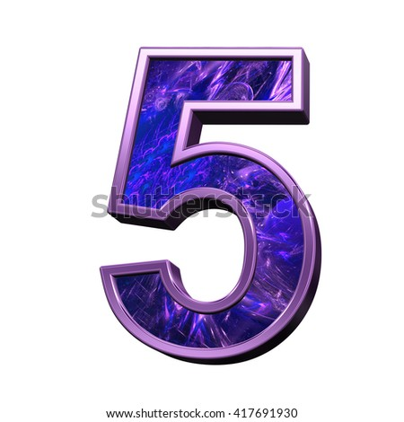 One digit from blue-purple fractal alphabet set isolated over white. 3D illustration.