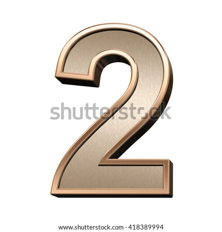 One digit from brushed copper with shiny frame alphabet set, isolated on white. 3D illustration. - stock photo