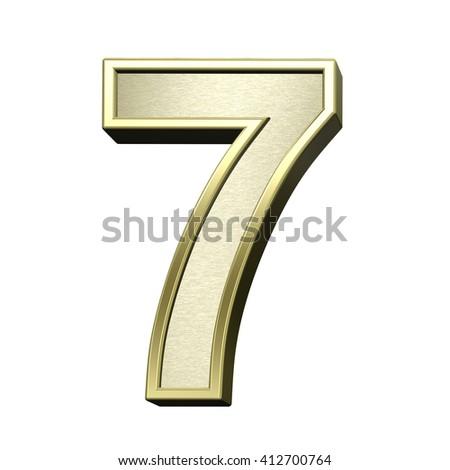 One digit from brushed gold with shiny frame alphabet set, isolated on white. 3D illustration. - stock photo