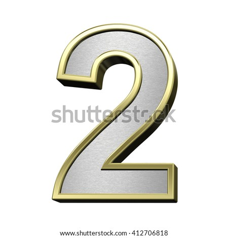 One digit from brushed silver with shiny gold frame alphabet set, isolated on white. 3D illustration. - stock photo