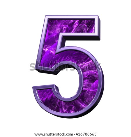 One digit from purple fractal alphabet set isolated over white. 3D illustration.
