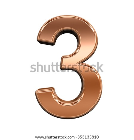 One digit from shiny copper alphabet set, isolated on white. Computer generated 3D photo rendering.
