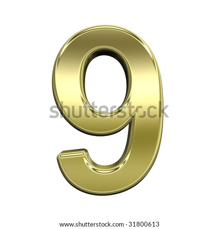 One digit from shiny gold alphabet set, isolated on white. Computer generated 3D photo rendering. - stock photo