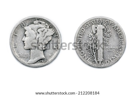 One Dime. The Dime is an iconic coin from the United States of America. A dime is worth one tenth of a Dollar - the unit of currency in America. This one from 1929. - stock photo