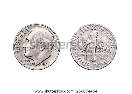 One Dime U.S.A dated 1977 which was one year after the Bi-centennial celebrations of American independence. The dime is one tenth of a Dollar..  - stock photo