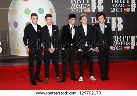 One Direction arrives for the Brit Awards 2013 at the O2 Arena, Greenwich, London. 20/02/2013 Picture by: Henry Harris - stock photo