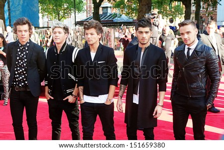 One Direction arriving for the One Direction This is Us World film premiere, London. 20/08/2013 - stock photo