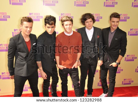 One Direction at the 2012 MTV Video Music Awards at Staples Center, Los Angeles. September 6, 2012  Los Angeles, CA Picture: Paul Smith - stock photo