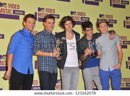 One Direction at the 2012 MTV Video Music Awards at the Staples Center, Los Angeles. September 6, 2012  Los Angeles, CA Picture: Paul Smith