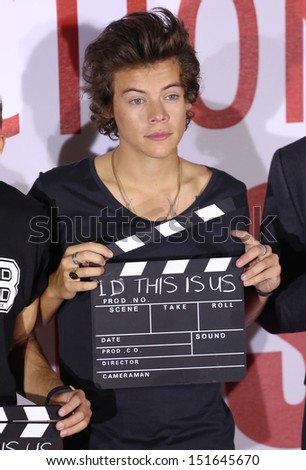 One Direction, Harry Styles, at the One Direction This is Us film - press conference, London. 19/08/2013 - stock photo