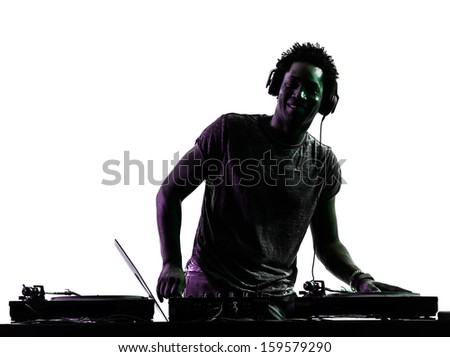 one disc jockey man in silhouette  on white background - stock photo