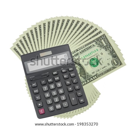 one dollar and calculator  - stock photo